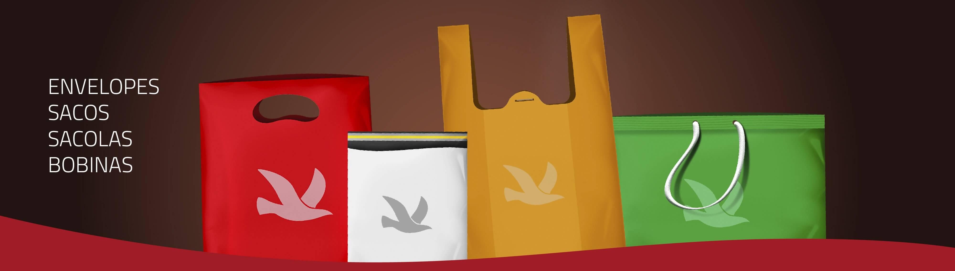Envelopes, sacos, sacolas e bombinas